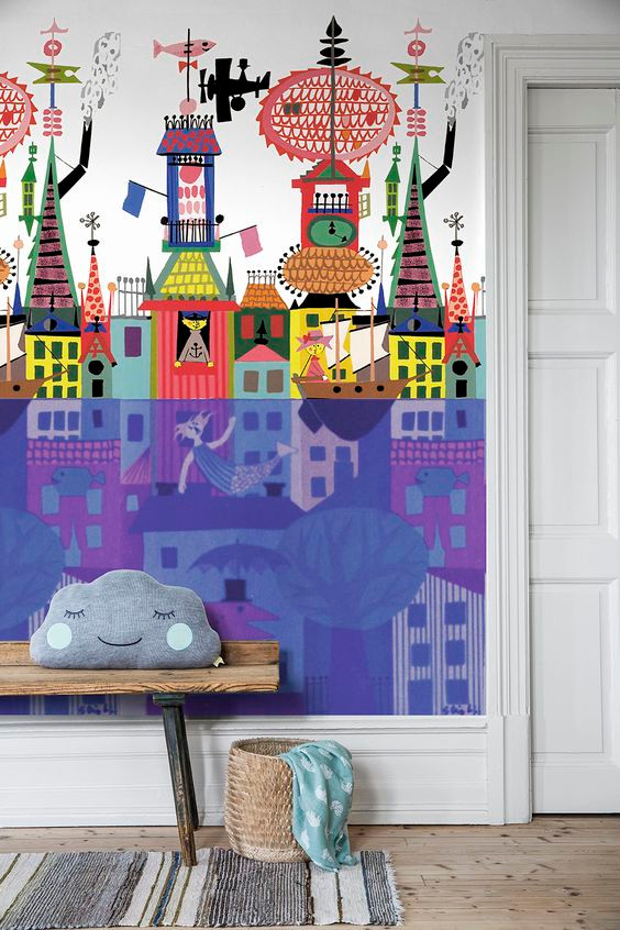 Borastapeter kids room wallpaper Sålunda Multi