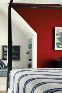 How to decorate your bedroom with red and crisp white for a modern look even nautical - this could be in the Hamptons! 4 poster bed and artwork. Benjamin Moore has revealed Caliente AF-290 as its highly anticipated Colour of the Year 2018. Unveiled alongside a corresponding palette consisting of 22 enlivening hues, this vibrant and charismatic shade of red is a bold yet soothing contemporary colour that oozes confidence. Wall colour - Caliente AF-290, Trim & Door colour - White Opulence OC-69
