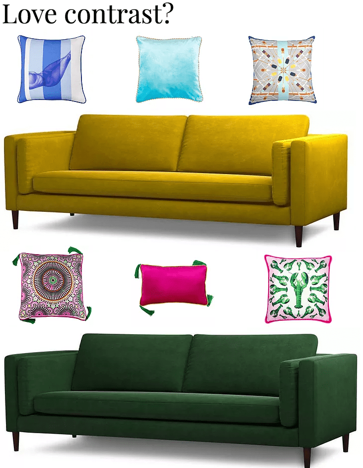 How to use contrasting patterns on a sofa with cushions like yellow sofa with blue cushions or green sofa with pink
