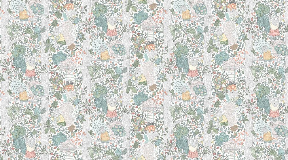 Borastapeter fairytale kids room wallpaper Charlie in white
