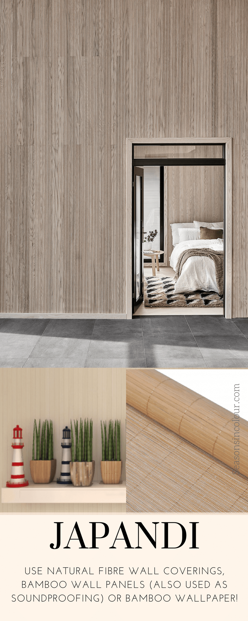 bedroom styling japandi scandinese bamboo wallcovering