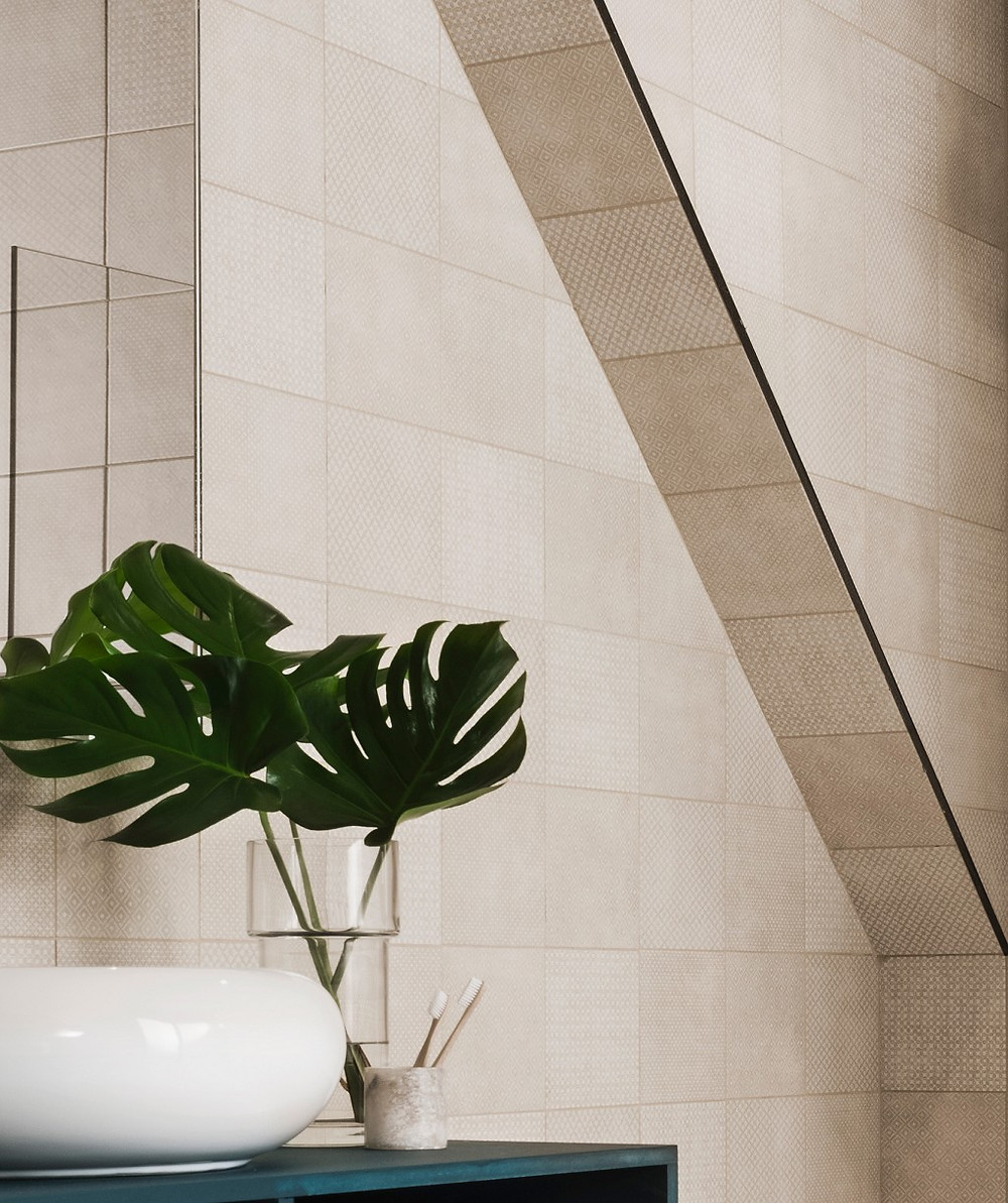 small format tile in taupe colour luxury bathroom decor