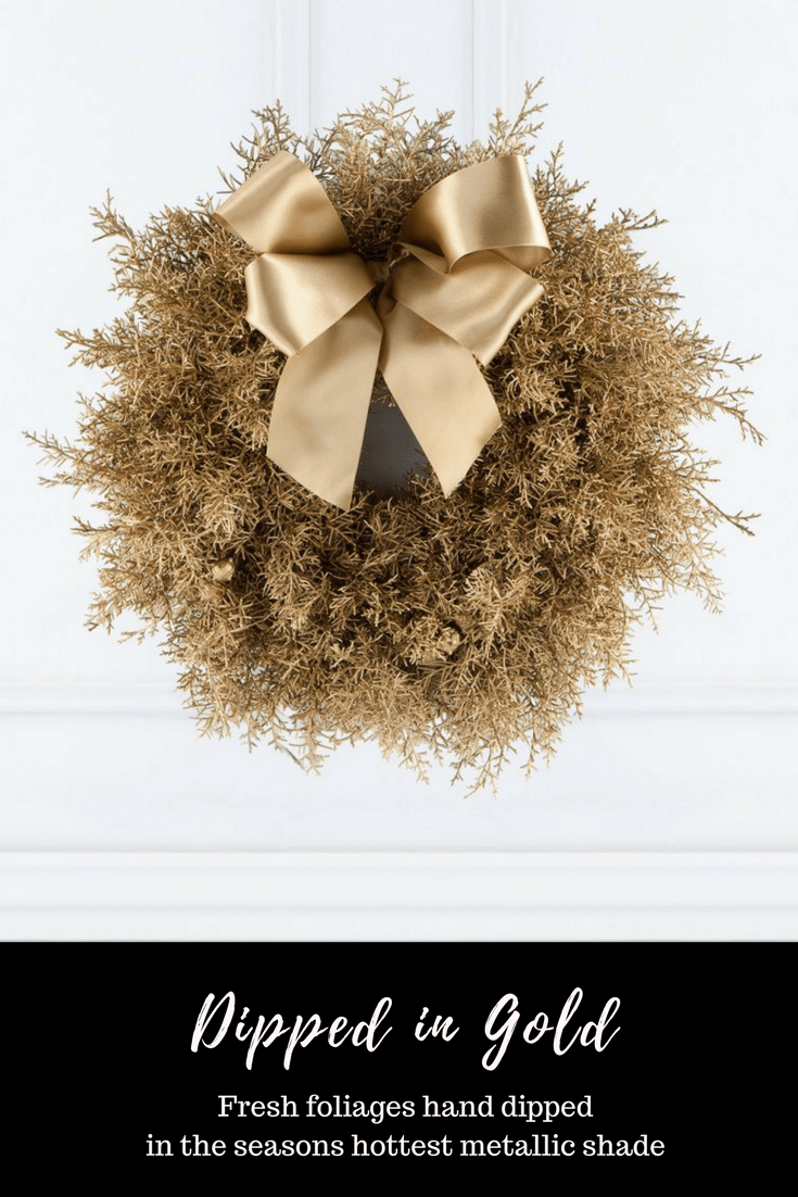 Fresh foliages hand dipped in the seasons hottest metallic shade really brings The Luxe Door Wreath to life Hayford and Rhodes