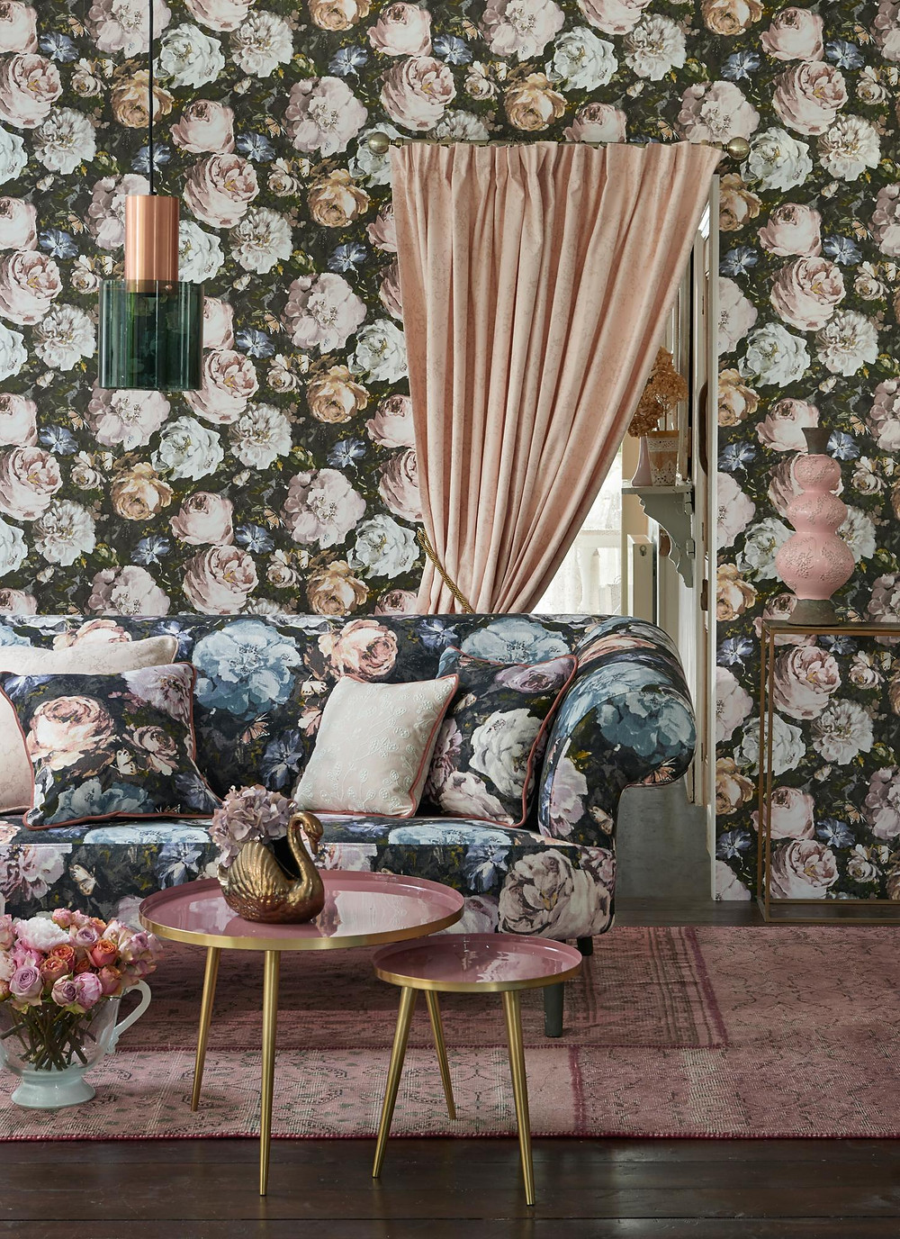 Floretta Charcoal Clarke & Clarke wallpaper floral - 15 best floral wallpapers for a moody look - how to decorate your interiors with moody floral wallpaper