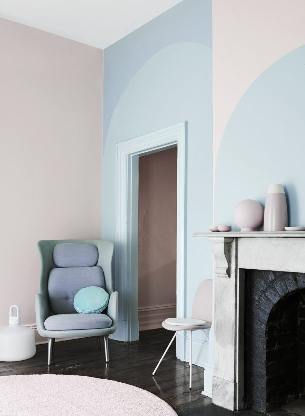blue and pink patterned walls