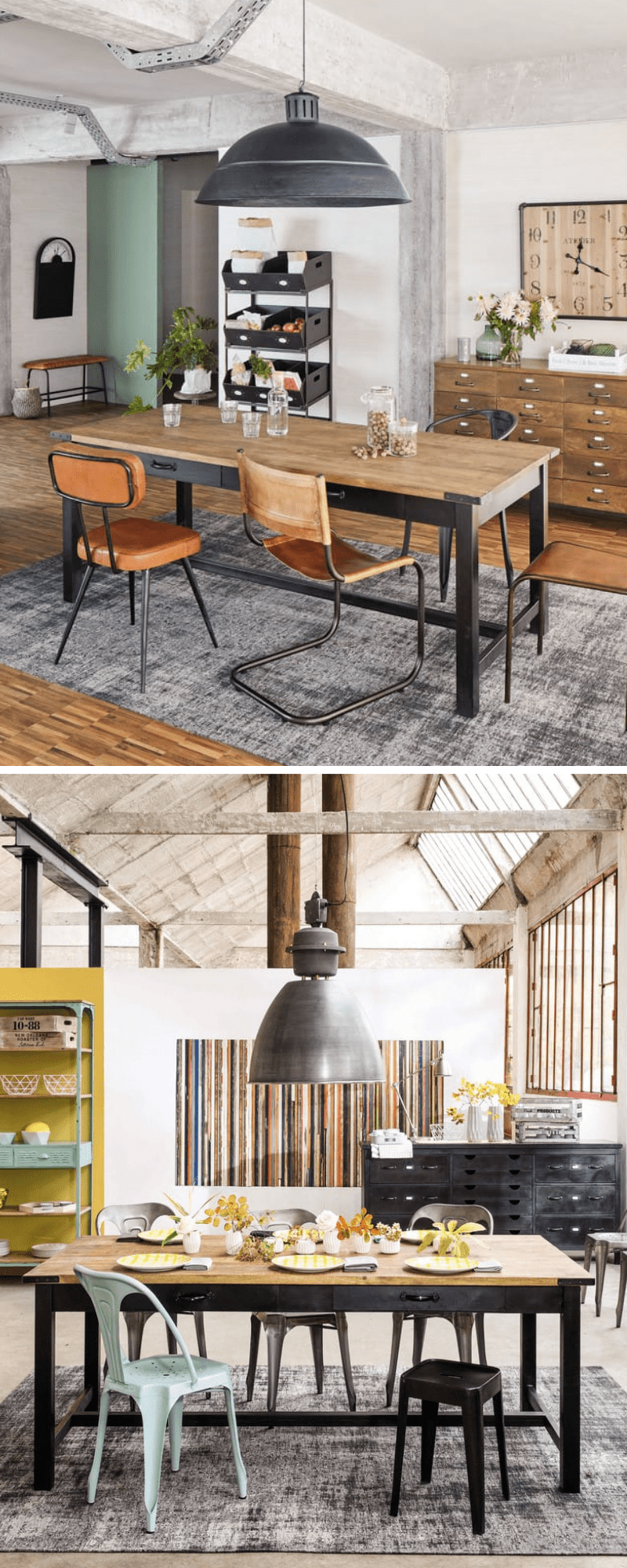 metal and unfinished wood, this ALFRED large table, industrial style dining room