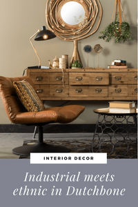 Industrial meets ethnic in DUTCHBONE rattan mirror and black and brass lamp living room ideas