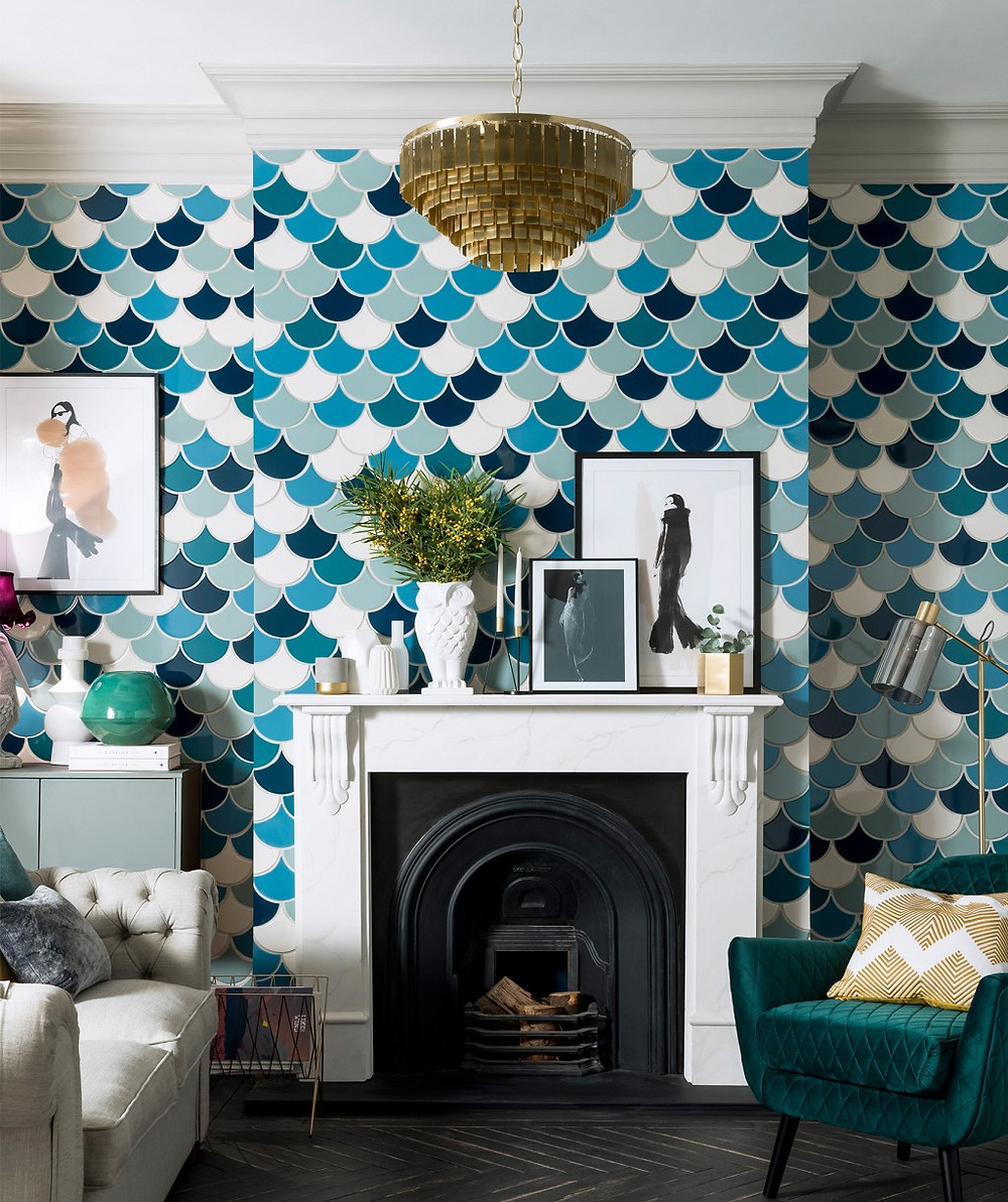 fish scale teal wall tiles