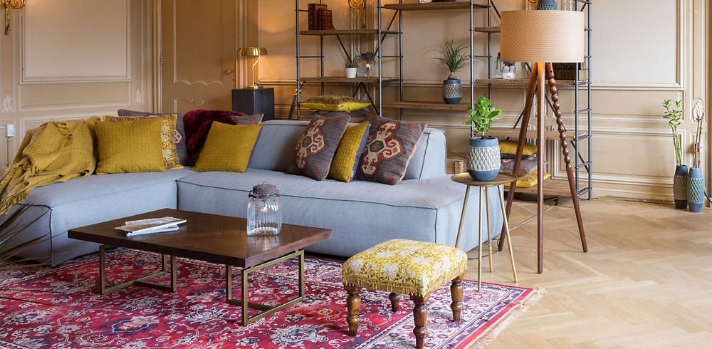 Dutchbone furnishings with Class coffee table and Arabica floor lamp in a living room
