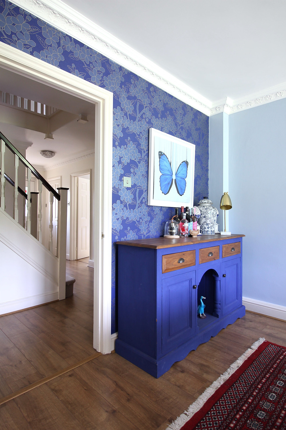 lOUISE mcNaught Morpho limited edition print Riseart, Napoleonic Blue sideboard