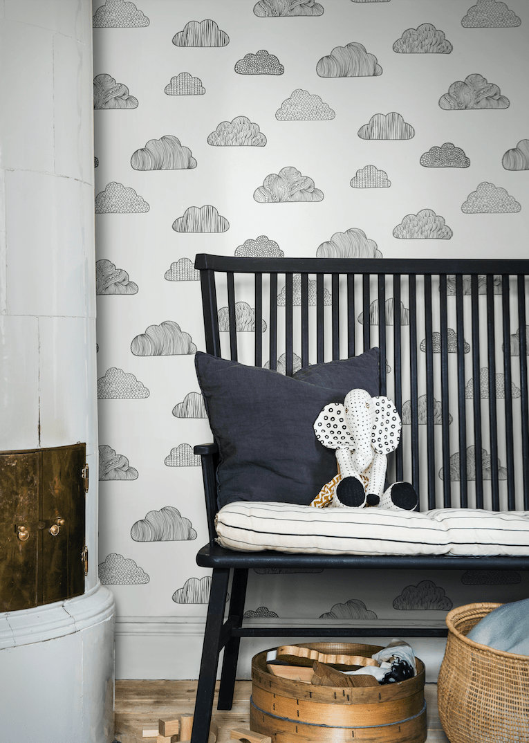 Borastapeter Claudia in Black and White wallpaper kids room clouds wallpaper Scandi style