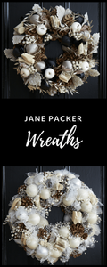 Christmas wreaths in white and silver from Jane Packer
