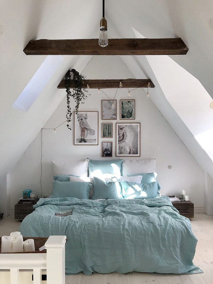 Romantic bedroom in Scandi style and blue
