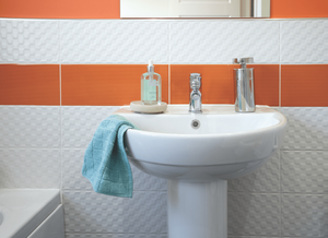 Gemini tiles Vivid tiles as a border in the bathroom