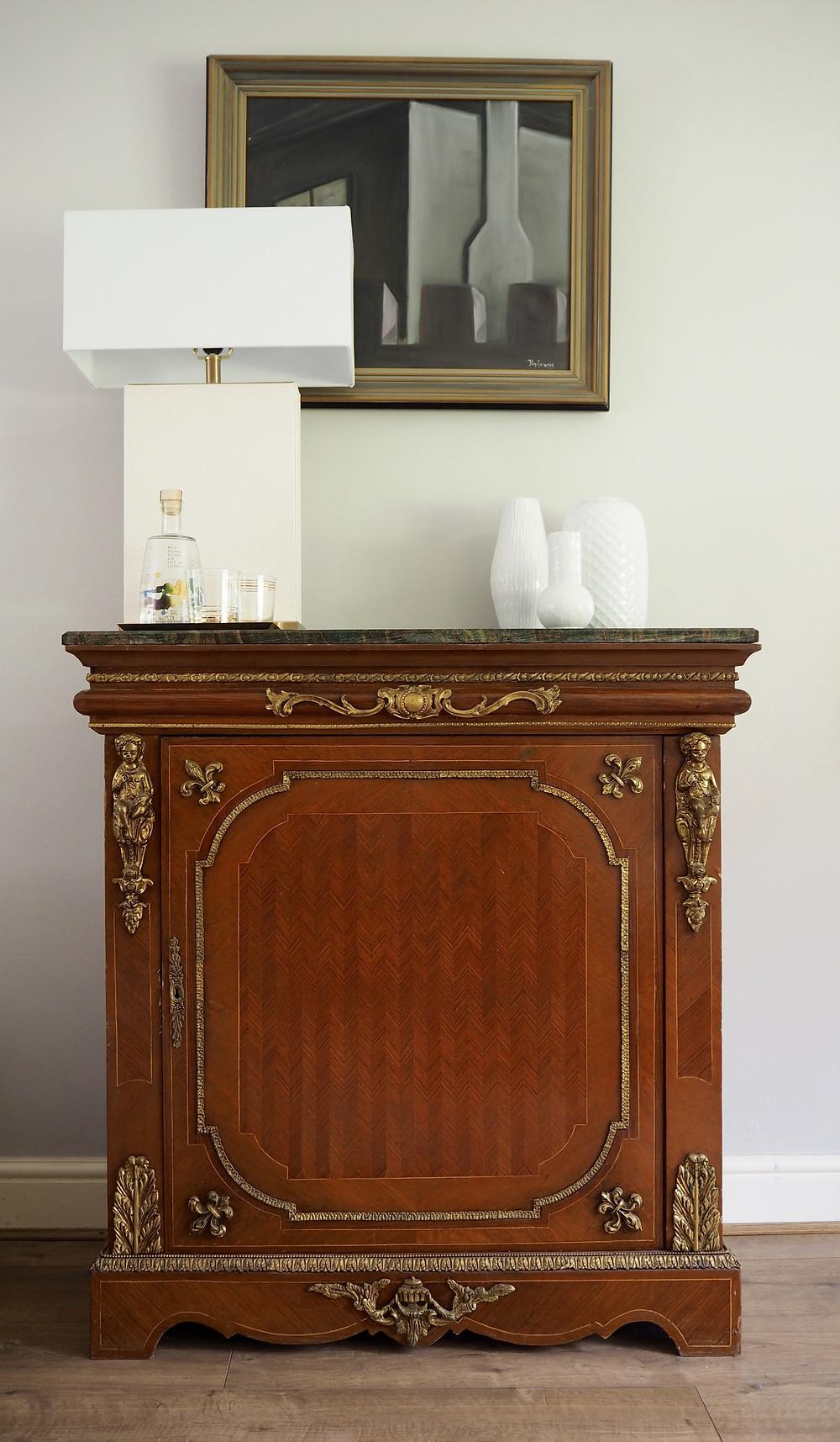 antique furniture vignette and Safavieh white table lamp
