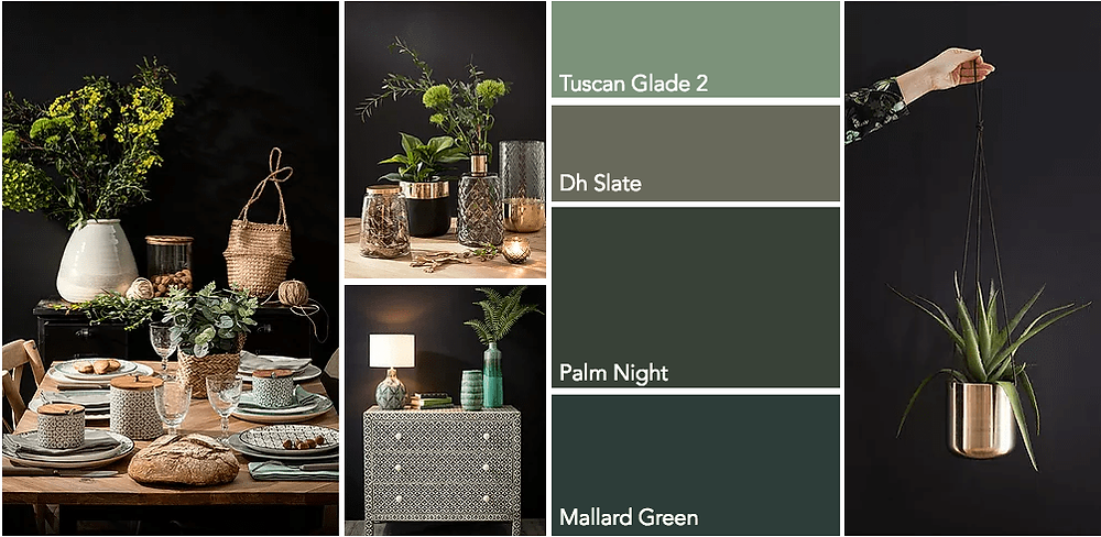 Green interiors is the latest Instagram trend table setting in eclectic way with green and brass, Dulux colours like Mallard Green and Palm night, brass planter