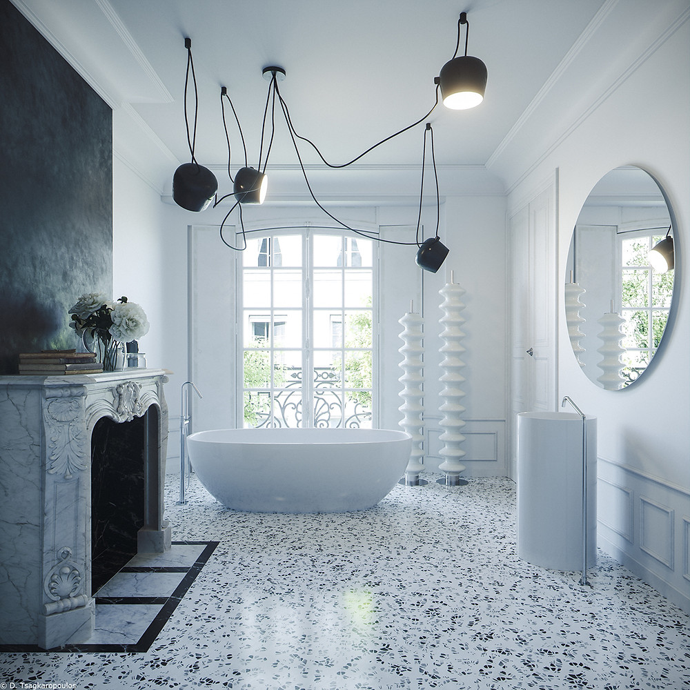 PARISIAN APARTMENT IN WHITE TERRAZZO WITH FIREPLACE AND BATHTUB FLOS LIGHTS ON THE CEILING