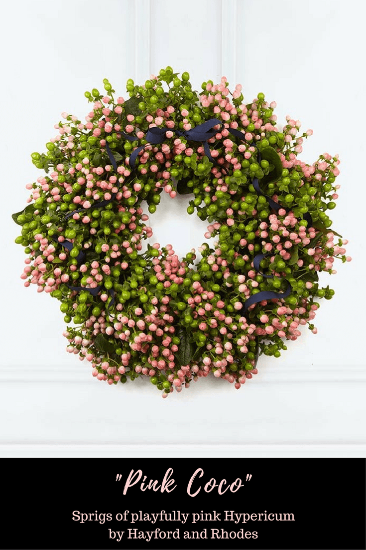 Hayford and Rhodes Pink Coco Christmas Wreath