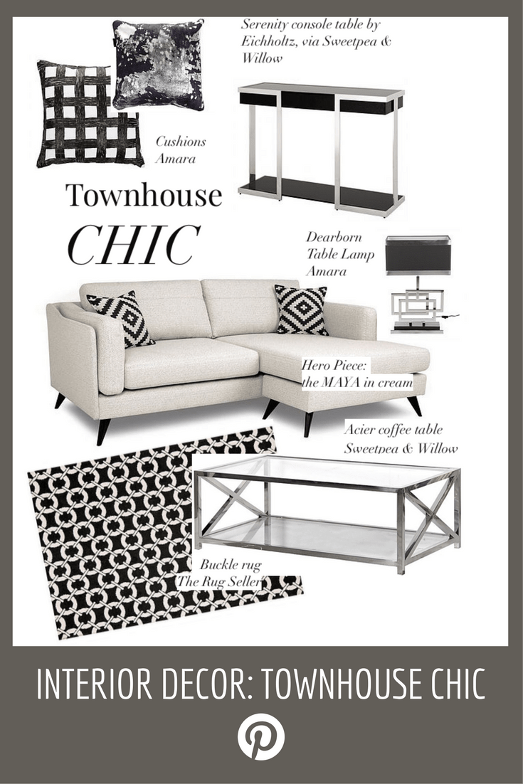 Cream corner sofa MAYA DFS with chrome console table and lamp, town house look, elegant interiors black and white style
