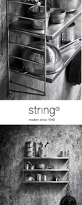 Stainless steel String Pocket shelving frame with kitchen accessories