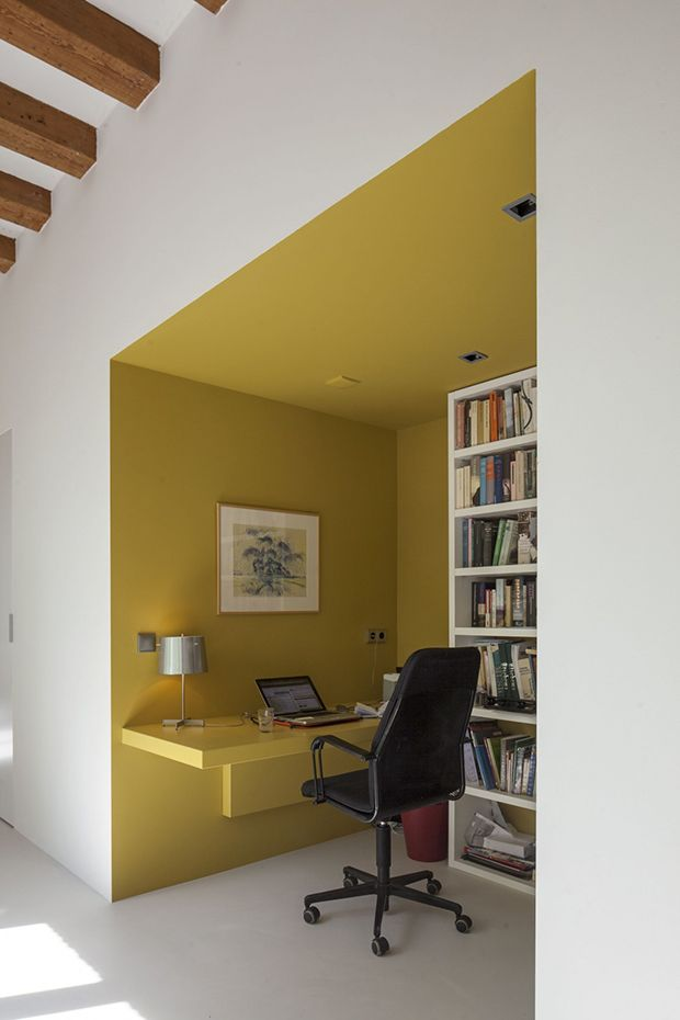 wall recess in mustard yellow