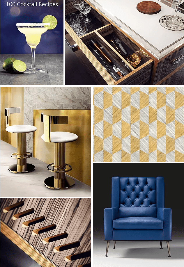 Midcentury decor moodboard Ginspiration geometric wall covering and Juniper Gin Trolley