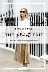 gold pleat skirt BCBG white slip on trainers and black sunglasses YSL bag