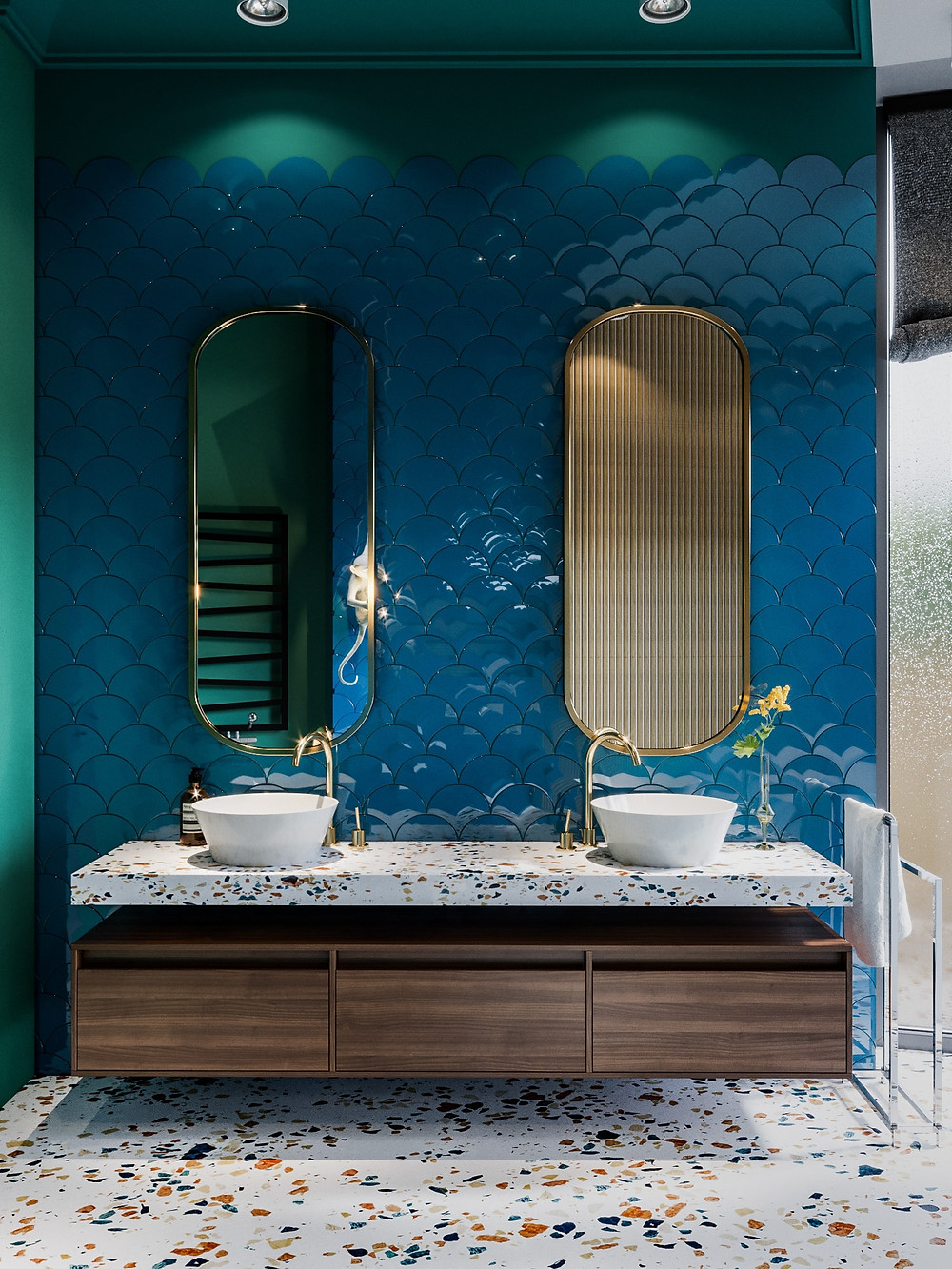 scallop ceramic tiles and oval mirror seletti hanging monkey pendant and terrazzo floor green ceiling