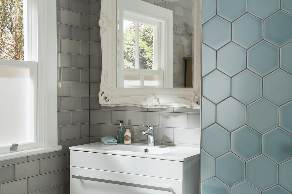 Hex tiles in the bathroom in aqua colour