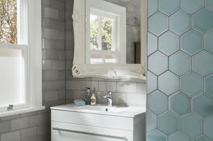 Hex tiles in the bathroom in aqua colour