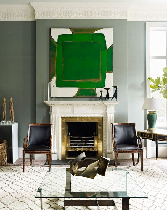David Mckie interiors Green Grey living room abstract artwork Ben Ourain