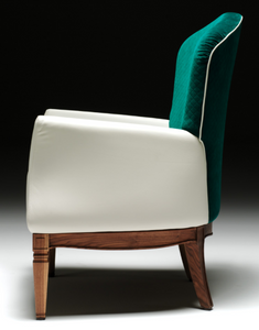 green and cream velvet armchair from Juliettes Interiors