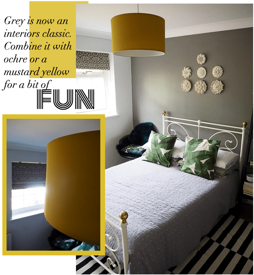 How to work the grey trend in bedroom Farrow and Ball Moles Breath