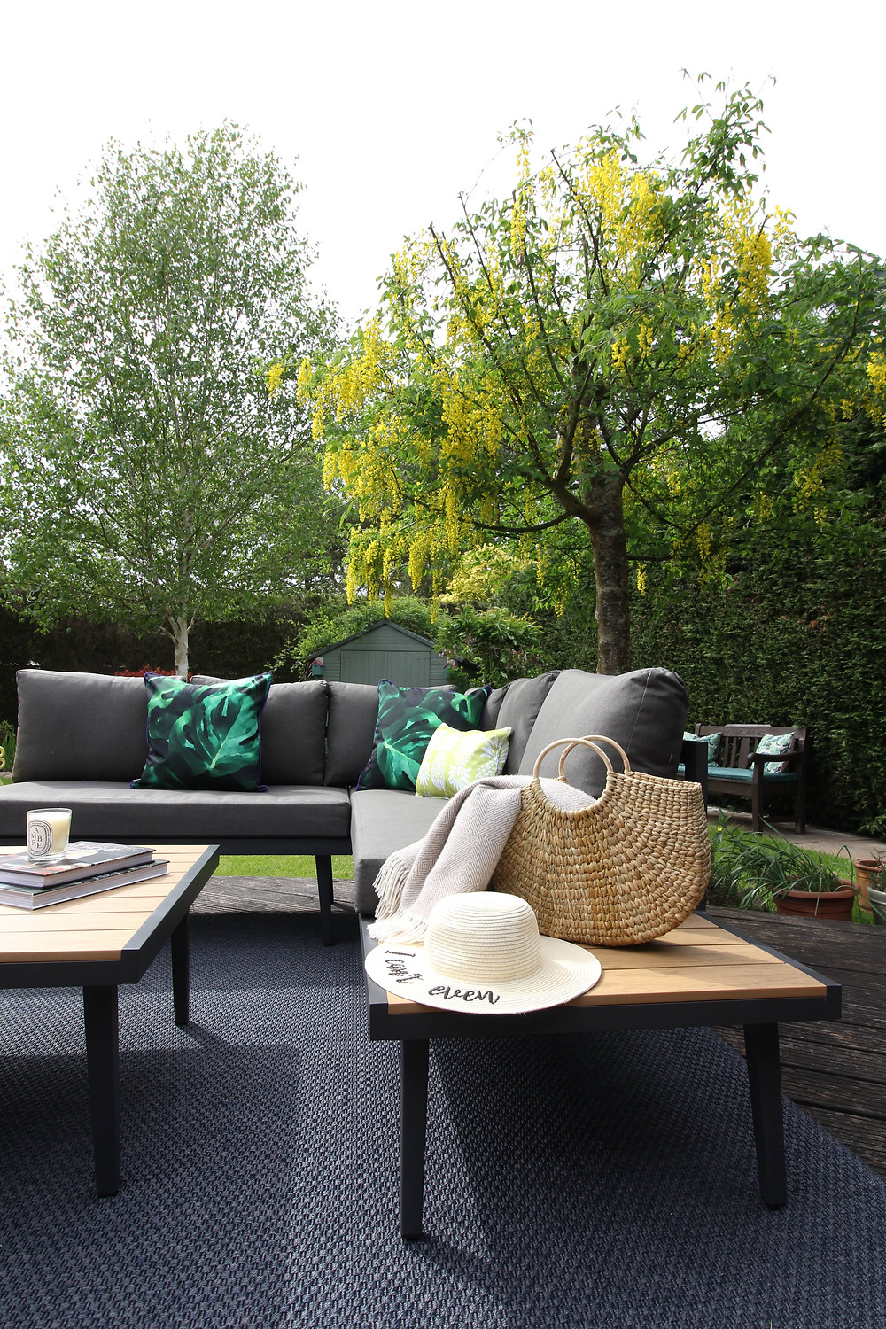 Danetti palermo garden bench and coffee table, Penelope Hope outdoors cushions