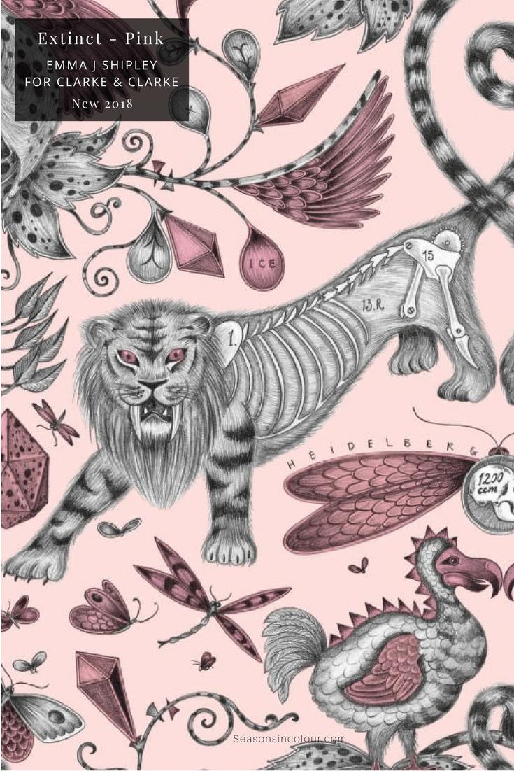 Emma J Shipley Animalia Collection Clarke & Clarke Extinct Pink