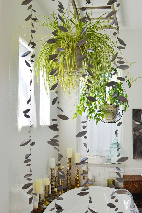 plants hanging over a bathtub