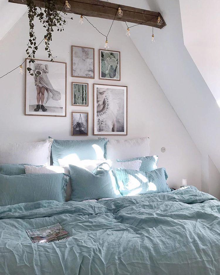 Romantic bedroom in blue bed linen