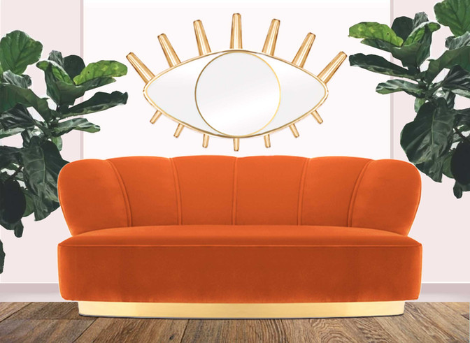 Monti 3 Seater Sofa In Orange Velvet By Moanne, RRP: U20ac2,092.00
