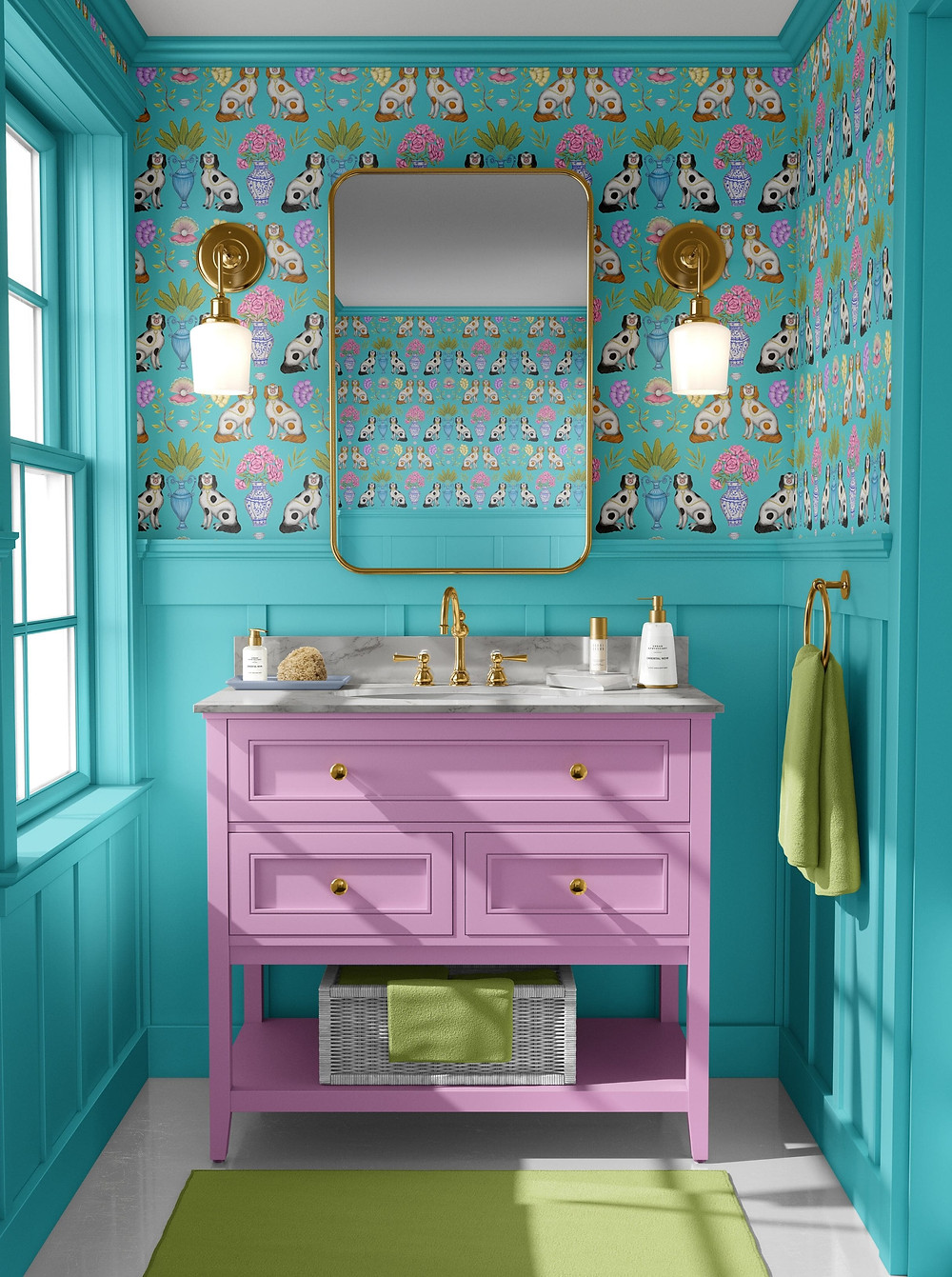 Small bathroom in mint green blue tongue and groove with pink vanity unit and colourful china dogs wallpaper from Catherine Rowe, brass mirrors and wall sconces