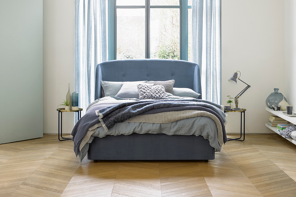 Bedroom trends that will dominate 2019. Jasmine King Size Divan in Lagoon from Button & Sprung