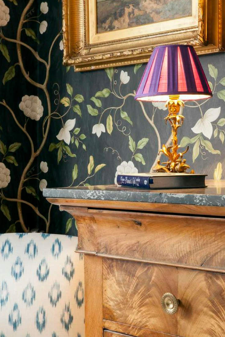 Snow tree wallpaper by Colefax and Fowler. 15 best floral wallpapers for a moody look - how to decorate your interiors with moody floral wallpaper