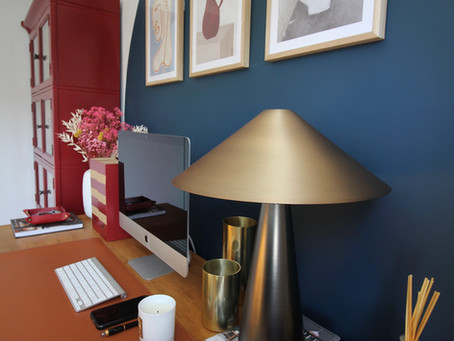 A contemporary home office gets a makeover with vintage finds
