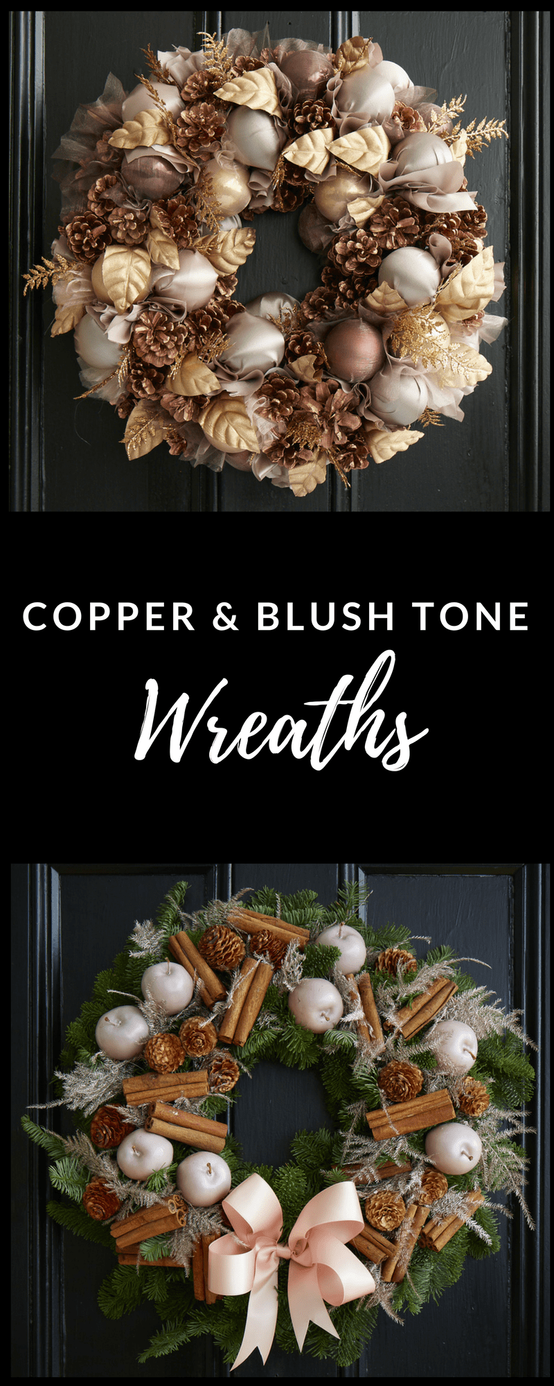 Copper and blush tone Christmas wreaths Jane Packer