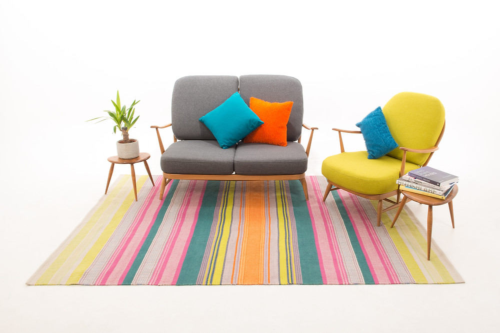 textile design weaver Angie Parker interview, neon coloured rugs