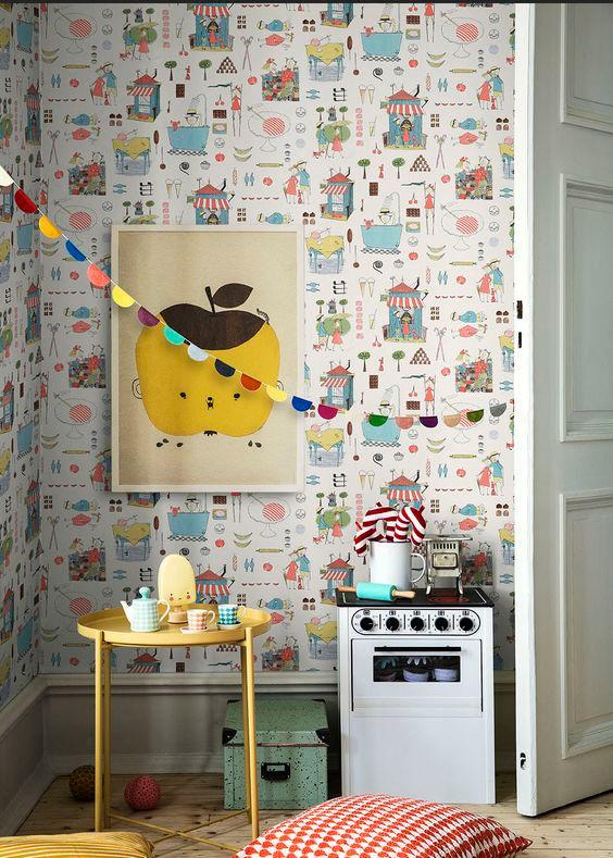 Krakel Spektakel inMulticoloured Brights borastapeter wallpaper kids room