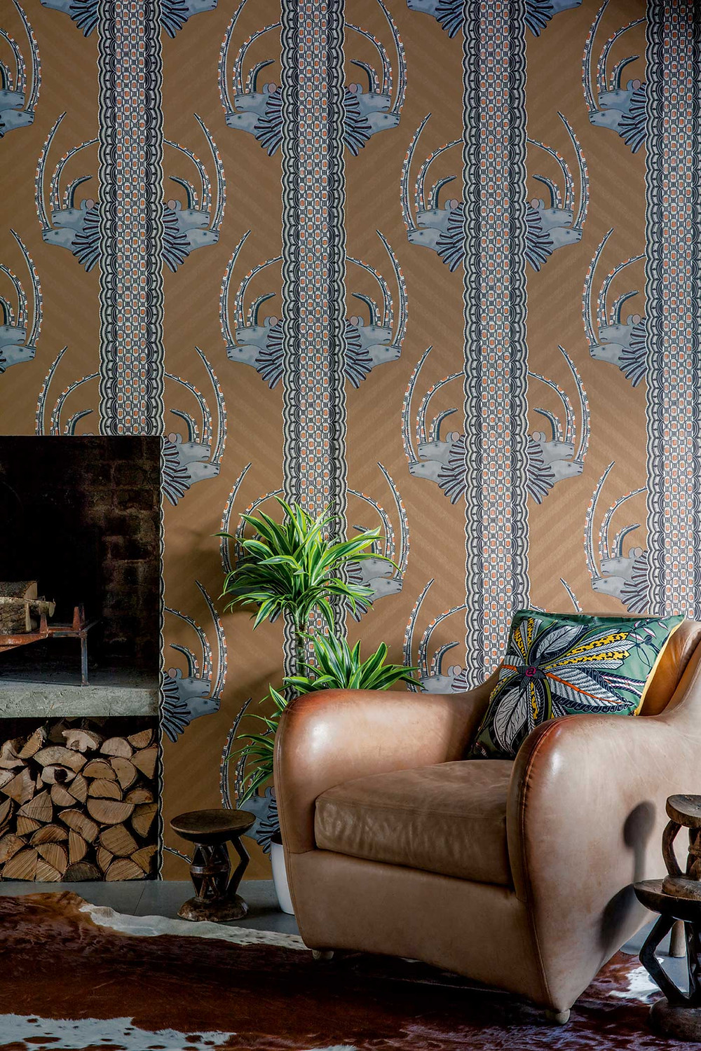 Jabu wallpaper in a hallway in Tan by Cole and Son.