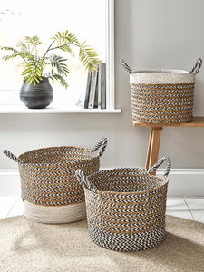 two tone woven baskets