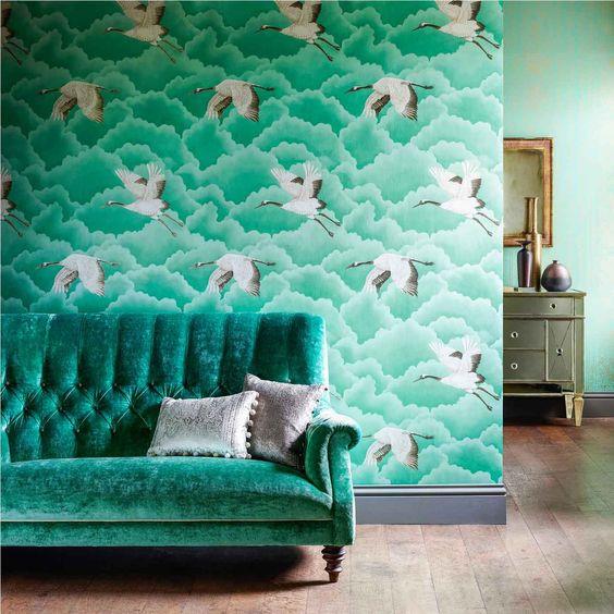 Harlequin Cranes Wallpaper Green sofa interiors