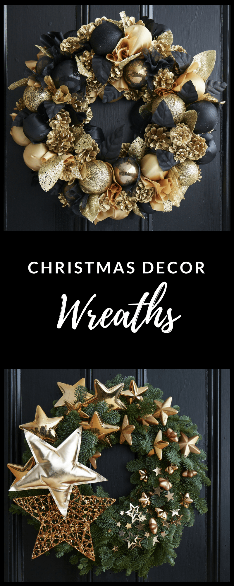 gold Christmas wreaths from designer florist Jane Packer
