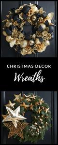gold Christmas wreaths from designer florist Jane Packer
